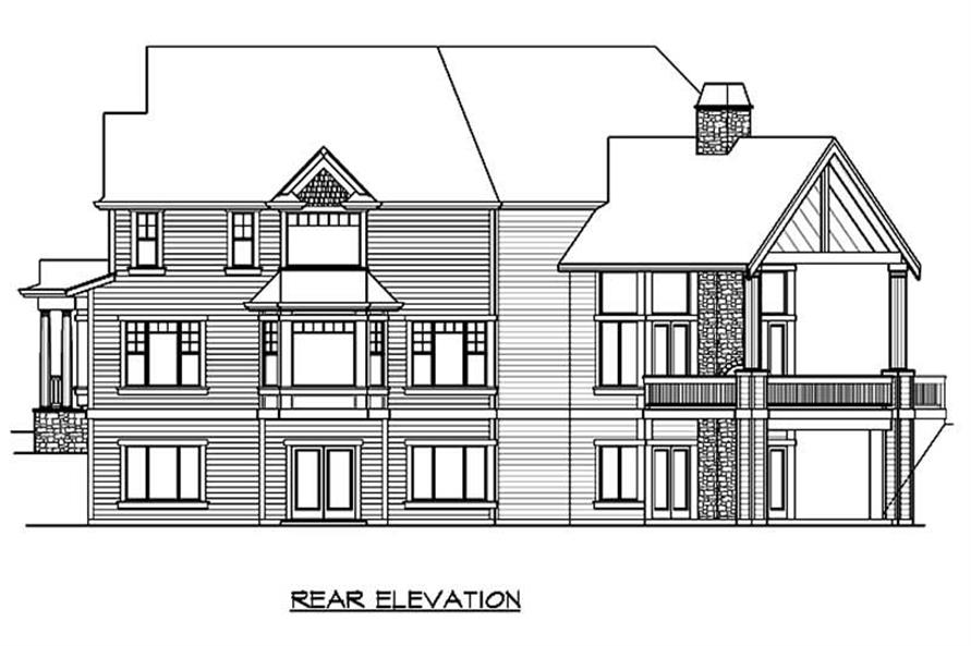 Home Plan Rear Elevation of this 4-Bedroom,5910 Sq Ft Plan -115-1001