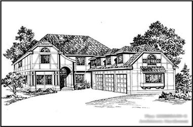 3-Bedroom, 3005 Sq Ft Mediterranean Home Plan - 115-1005 - Main Exterior