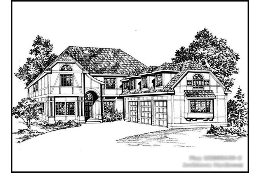 3-Bedroom, 3005 Sq Ft Mediterranean Home Plan - 115-1005 - Main Exterior