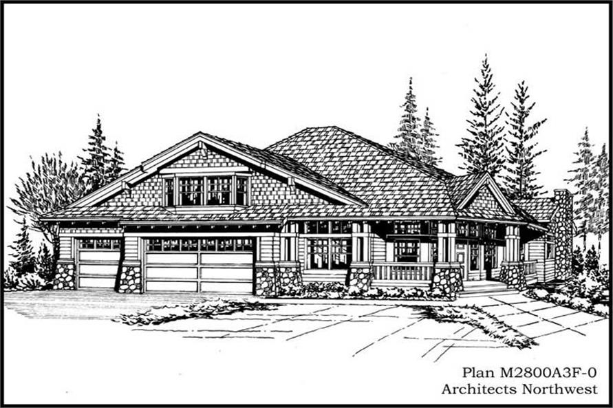 Home Plan Rear Elevation of this 3-Bedroom,2800 Sq Ft Plan -115-1007