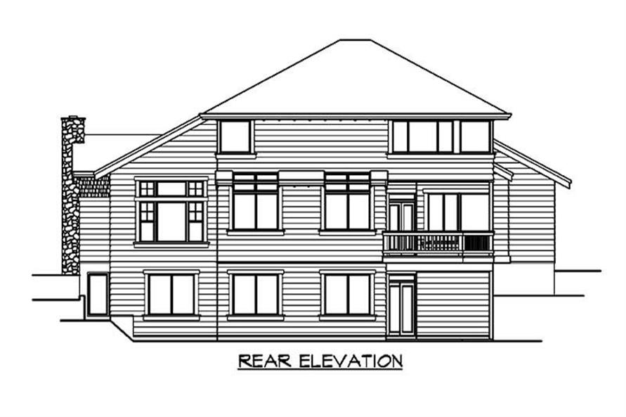 Home Plan Rear Elevation of this 5-Bedroom,4150 Sq Ft Plan -115-1008