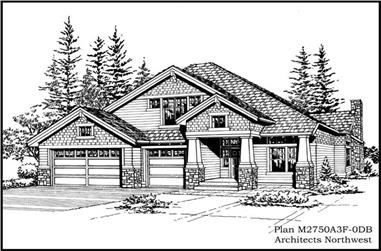 5-Bedroom, 4250 Sq Ft Craftsman House Plan - 115-1011 - Front Exterior
