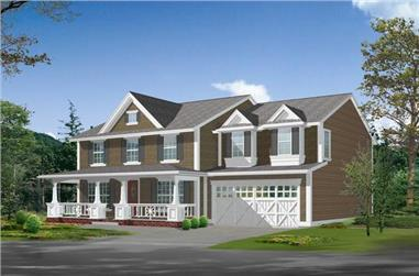 5-Bedroom, 3320 Sq Ft Country Home Plan - 115-1013 - Main Exterior