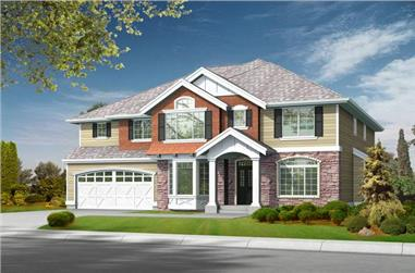 4-Bedroom, 3570 Sq Ft Shingle House Plan - 115-1022 - Front Exterior