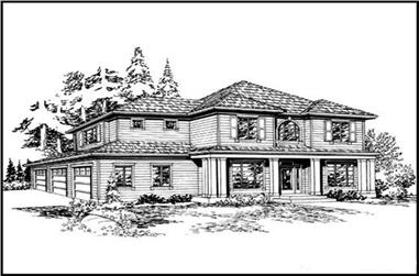 4-Bedroom, 2935 Sq Ft Colonial House Plan - 115-1024 - Front Exterior