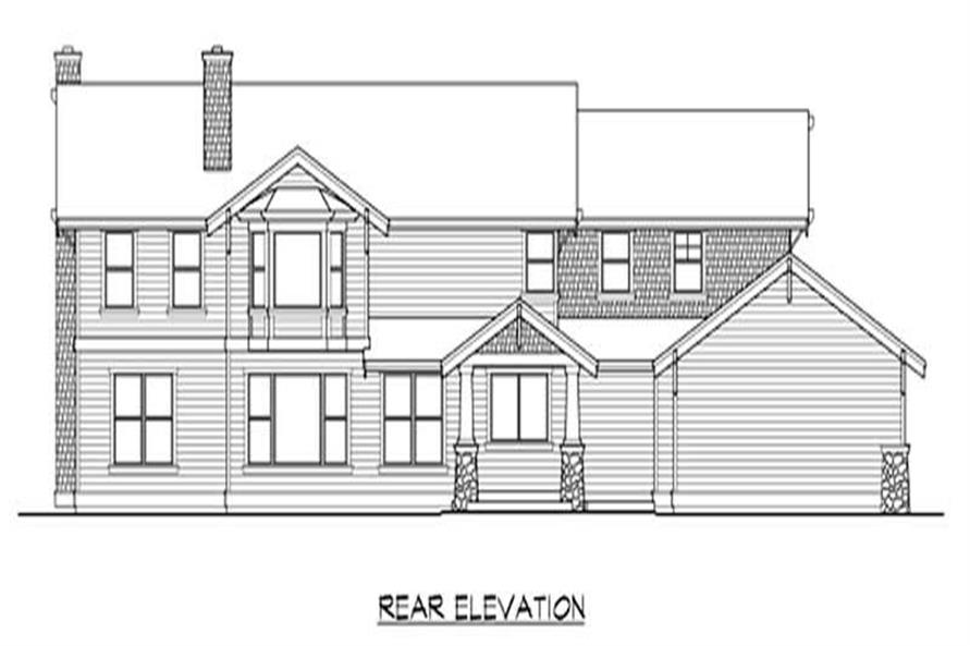 Home Plan Rear Elevation of this 4-Bedroom,4010 Sq Ft Plan -115-1027