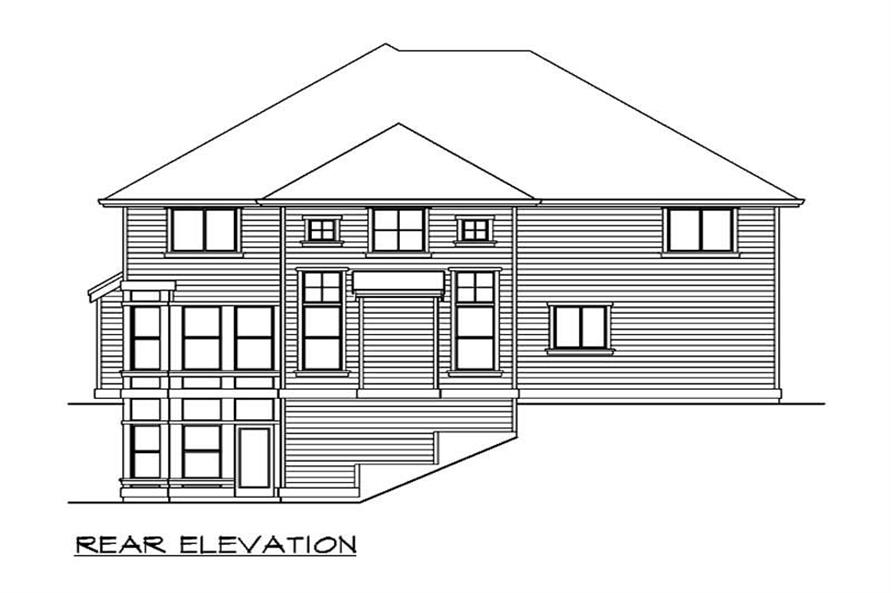 Home Plan Rear Elevation of this 5-Bedroom,4430 Sq Ft Plan -115-1029