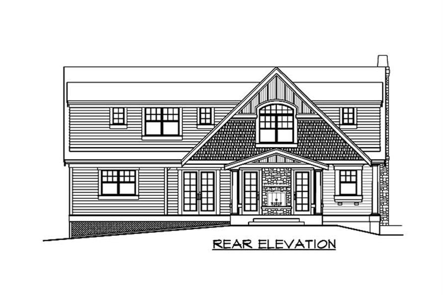 Home Plan Rear Elevation of this 4-Bedroom,3919 Sq Ft Plan -115-1030