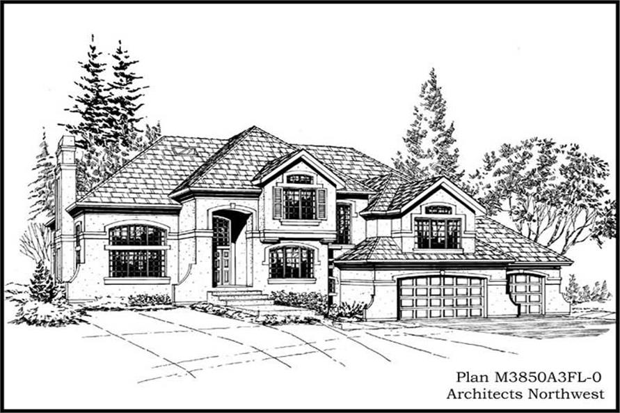 Home Plan Front Elevation of this 4-Bedroom,3850 Sq Ft Plan -115-1033