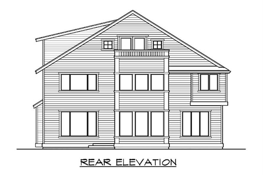 Home Plan Rear Elevation of this 4-Bedroom,3703 Sq Ft Plan -115-1035