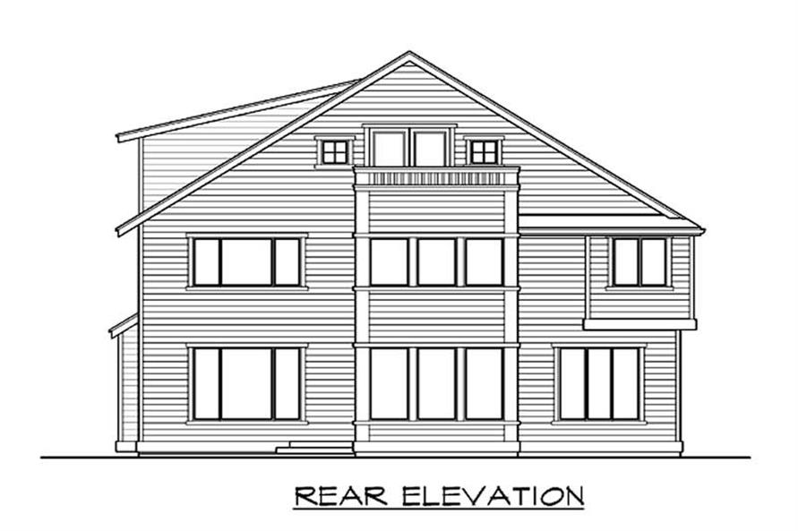 Home Plan Rear Elevation of this 5-Bedroom,3686 Sq Ft Plan -115-1036