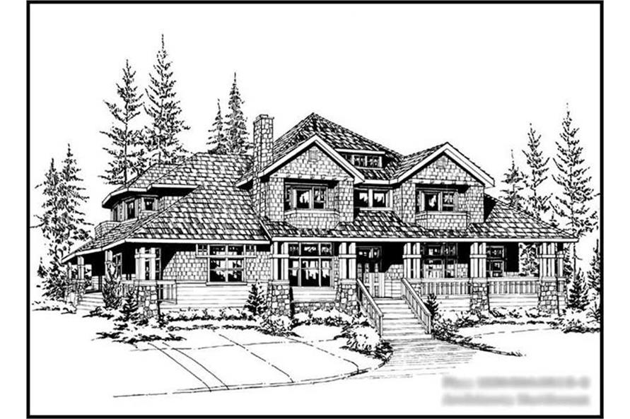 3-Bedroom, 3650 Sq Ft Country Home Plan - 115-1037 - Main Exterior