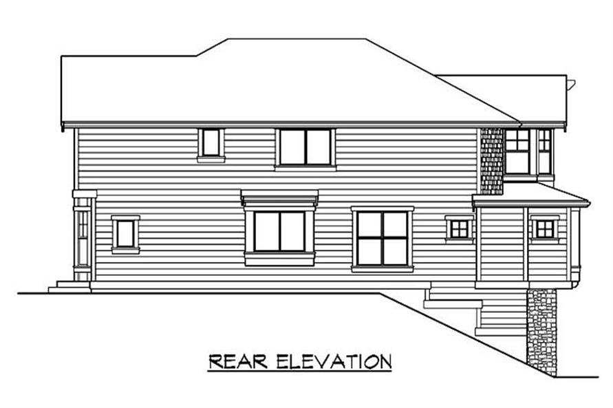 Home Plan Rear Elevation of this 4-Bedroom,3630 Sq Ft Plan -115-1038