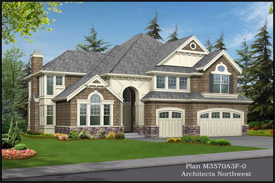 4-Bedroom, 3570 Sq Ft Craftsman Home Plan - 115-1040 - Main Exterior