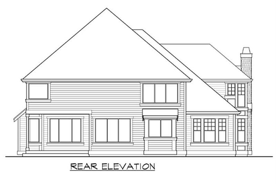 Home Plan Rear Elevation of this 4-Bedroom,3570 Sq Ft Plan -115-1040