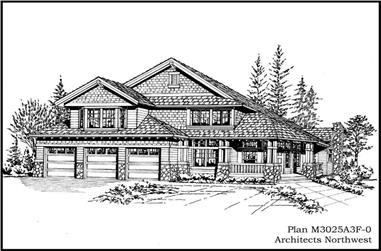 3-Bedroom, 3025 Sq Ft Country House Plan - 115-1041 - Front Exterior