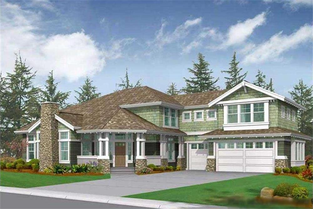 Color rendering of Craftsman home plan (ThePlanCollection: House Plan #115-1042)