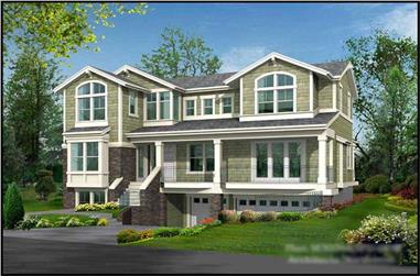 4-Bedroom, 3026 Sq Ft Multi-Level House Plan - 115-1043 - Front Exterior