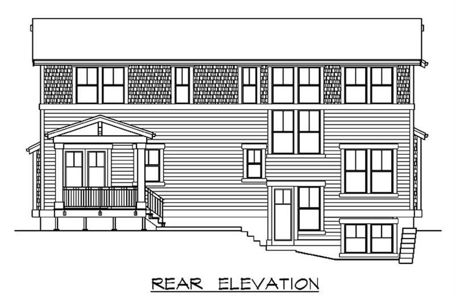 Home Plan Rear Elevation of this 4-Bedroom,3026 Sq Ft Plan -115-1043