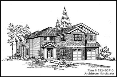 4-Bedroom, 3324 Sq Ft Multi-Level House Plan - 115-1045 - Front Exterior