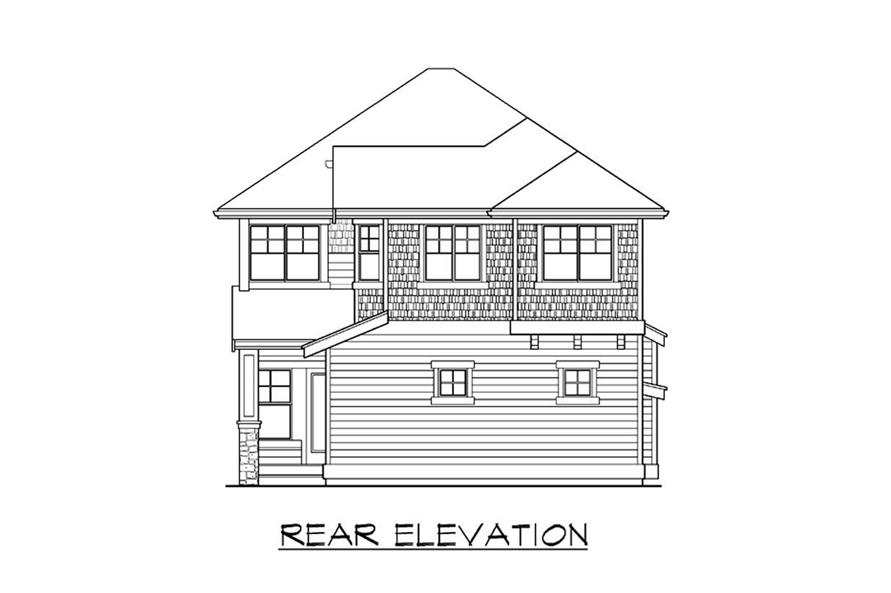 Home Plan Rear Elevation of this 4-Bedroom,3076 Sq Ft Plan -115-1049