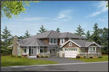 5-Bedroom, 4235 Sq Ft Craftsman Home Plan - 115-1054 - Main Exterior