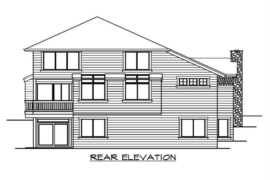 Home Plan Rear Elevation of this 5-Bedroom,4235 Sq Ft Plan -115-1054