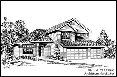 3-Bedroom, 1795 Sq Ft Craftsman Home Plan - 115-1057 - Main Exterior