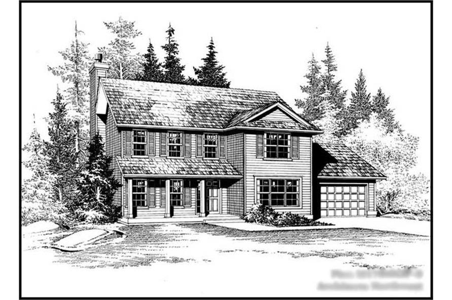 4-Bedroom, 1785 Sq Ft Colonial Home Plan - 115-1073 - Main Exterior