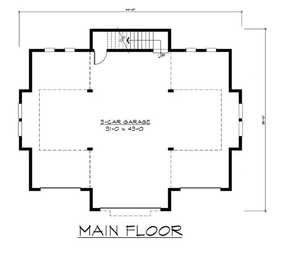 Plan W2225sl One Story Garage Apartment: Garage W/Apartment With 3-Car, 0 Bedrm, 760 Sq Ft
