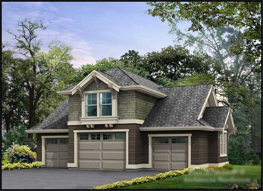 Color rendering of Garage w/Apartment plan (ThePlanCollection: House Plan #115-1078)