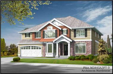 4-Bedroom, 3445 Sq Ft Craftsman House Plan - 115-1082 - Front Exterior