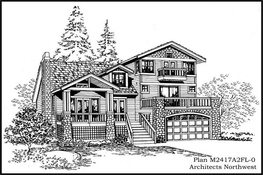 2-Bedroom, 2417 Sq Ft Multi-Level Home Plan - 115-1087 - Main Exterior