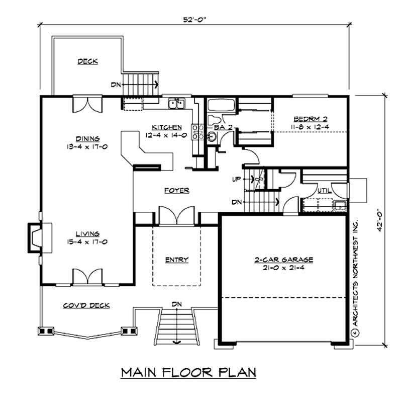 Multi level house plan 2 bedrms 3 baths 2417 sq ft for Multi level floor plans