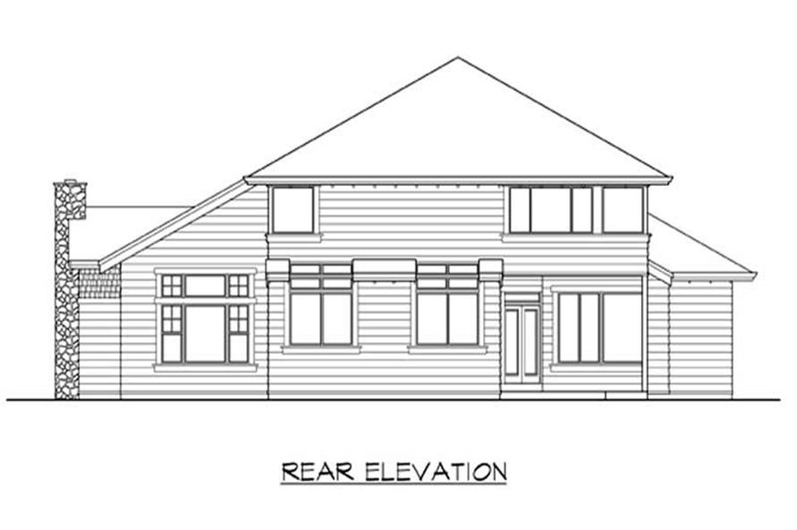 Home Plan Rear Elevation of this 4-Bedroom,3225 Sq Ft Plan -115-1089