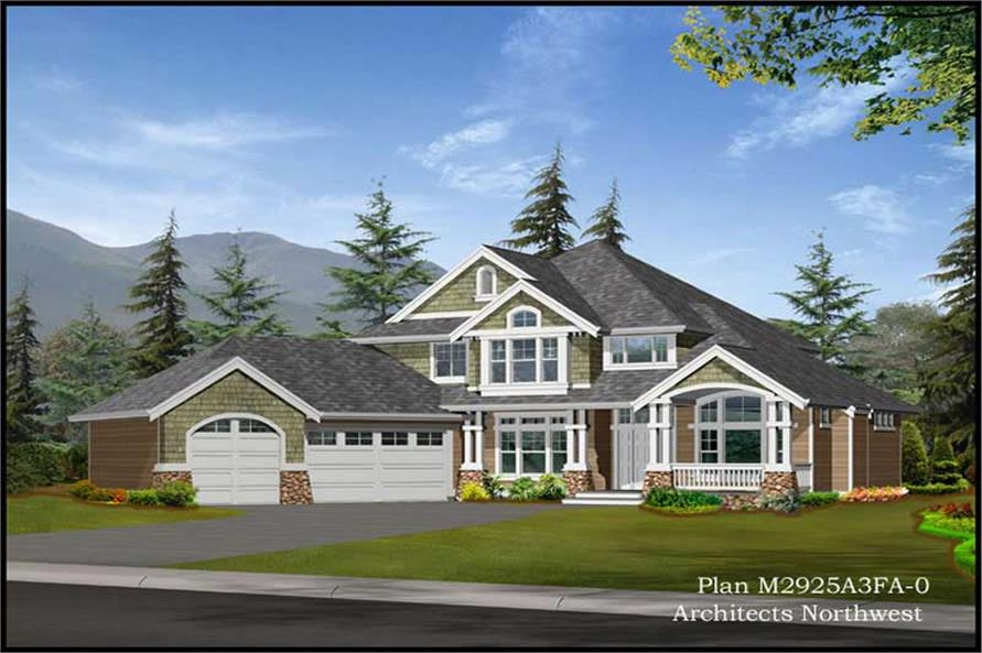 4-Bedroom, 2925 Sq Ft European House Plan - 115-1093 - Front Exterior