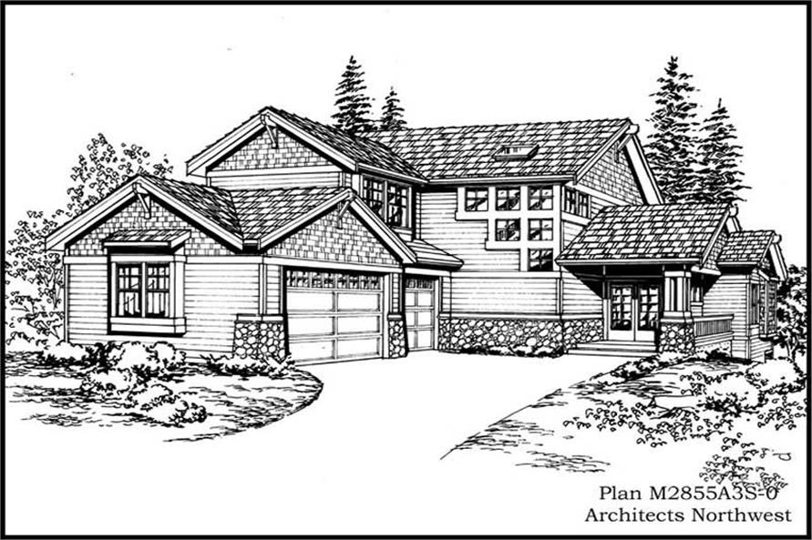 3-Bedroom, 2855 Sq Ft Craftsman Home Plan - 115-1101 - Main Exterior
