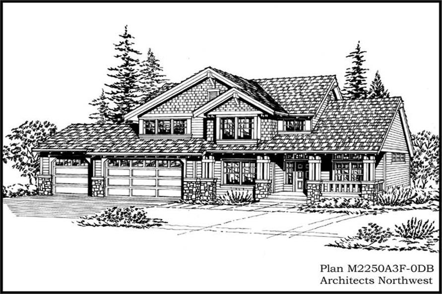3-Bedroom, 3401 Sq Ft Country House Plan - 115-1107 - Front Exterior