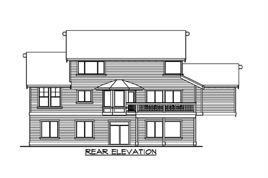 Home Plan Rear Elevation of this 3-Bedroom,3401 Sq Ft Plan -115-1107