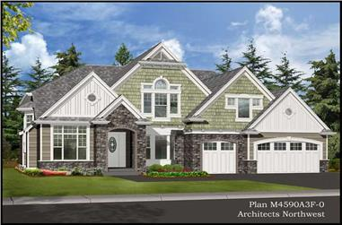 4-Bedroom, 4590 Sq Ft Craftsman Home Plan - 115-1109 - Main Exterior