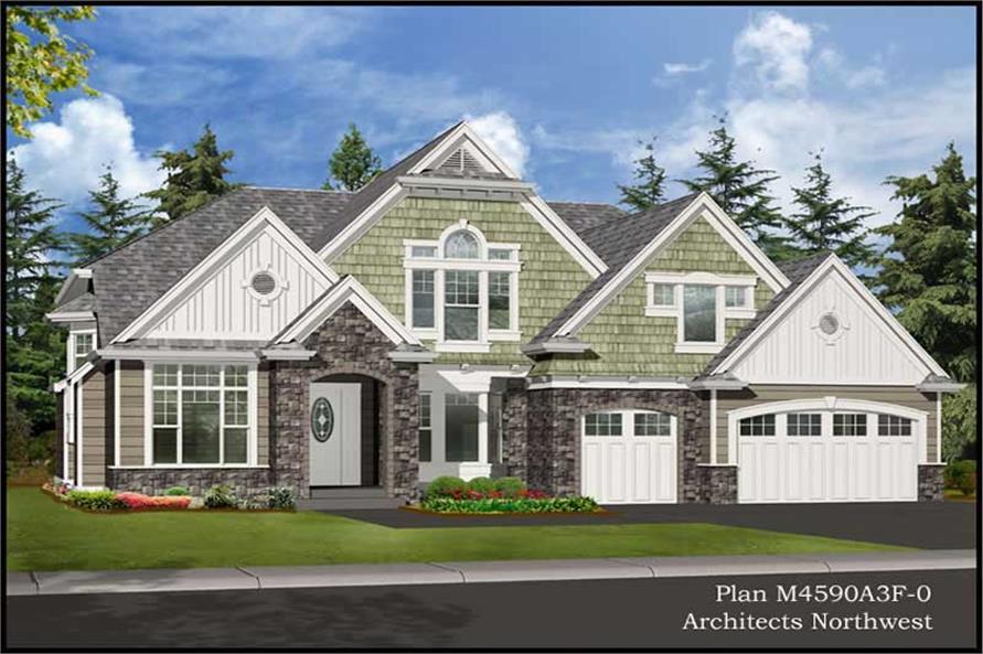 4-Bedroom, 4590 Sq Ft Craftsman Home Plan - 115-1109 - Main Exterior