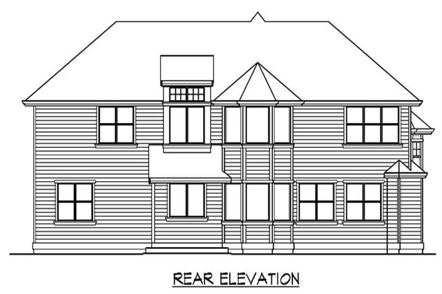 Home Plan Rear Elevation of this 4-Bedroom,4590 Sq Ft Plan -115-1109