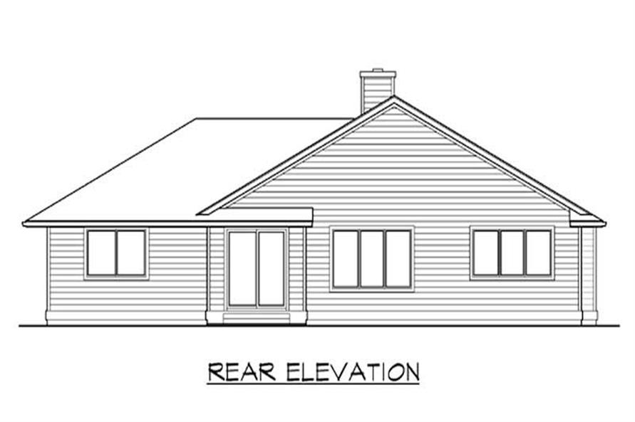 Home Plan Rear Elevation of this 3-Bedroom,1654 Sq Ft Plan -115-1113