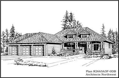 3-Bedroom, 2665 Sq Ft Craftsman Home Plan - 115-1114 - Main Exterior