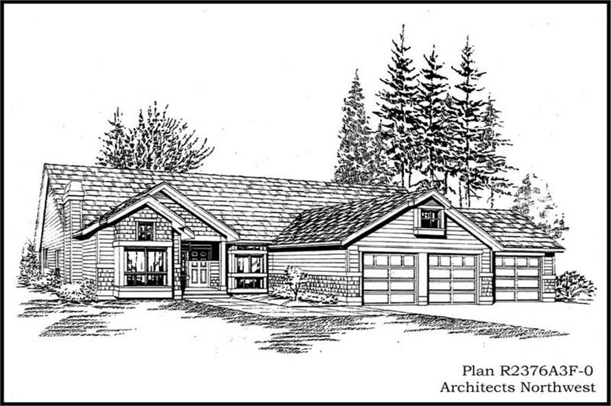 3-Bedroom, 2376 Sq Ft Ranch House Plan - 115-1115 - Front Exterior