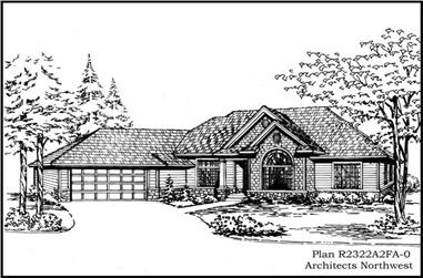 2-Bedroom, 2322 Sq Ft Ranch House Plan - 115-1116 - Front Exterior