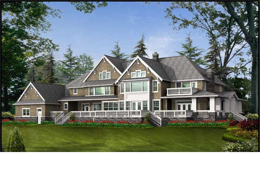 Home Plan Rear Elevation of this 4-Bedroom,7425 Sq Ft Plan -115-1120