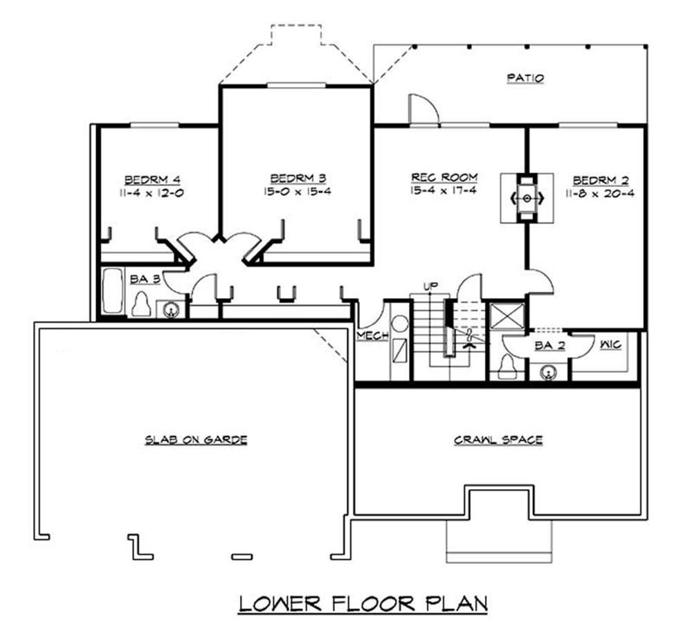 Craftsman ranch home with 4 bedrms 3170 sq ft plan for Ranch house floor plans with basement