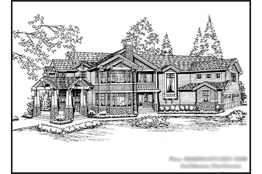 5-Bedroom, 6680 Sq Ft Craftsman House Plan - 115-1123 - Front Exterior