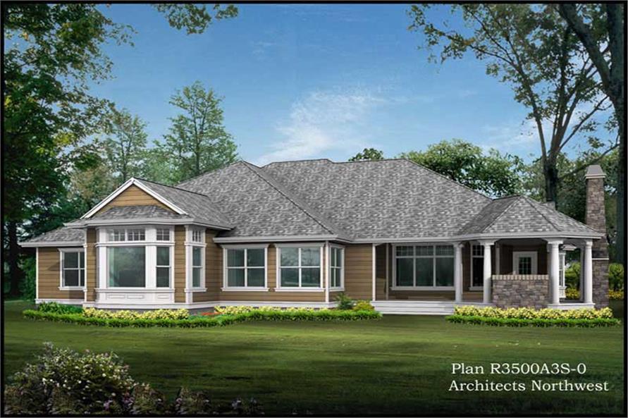 Home Plan Rear Elevation of this 4-Bedroom,3500 Sq Ft Plan -115-1124